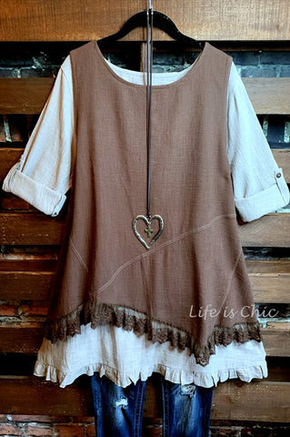 EVER SO SWEET LACE 100% COTTON EMBROIDERED KIMONO IN BEIGE-------sale