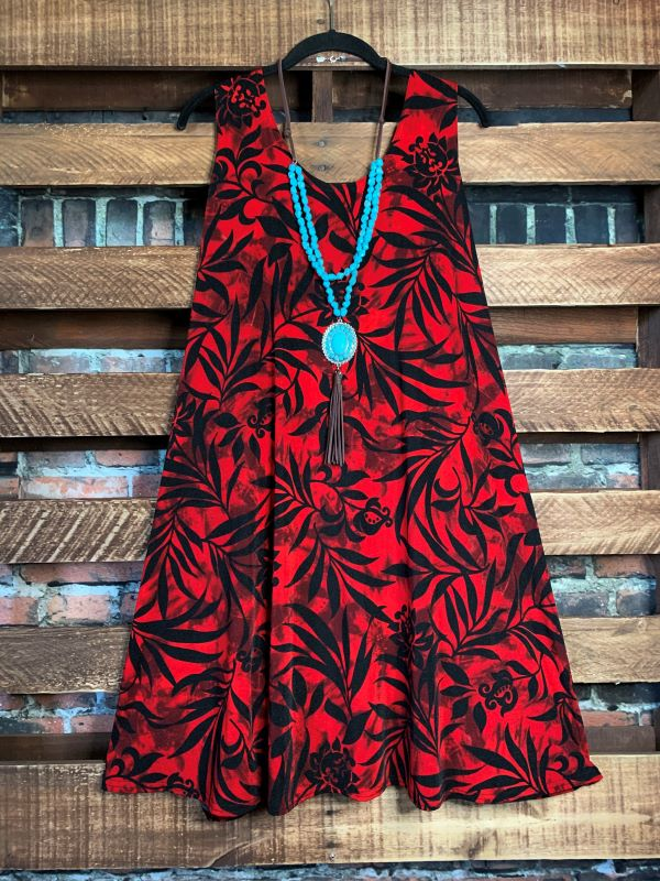 PRETTY PASSION FLORAL DRESS TUNIC IN RED
