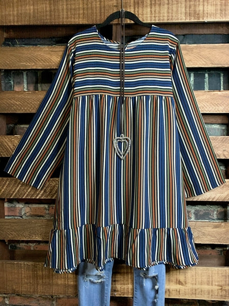 LIVING IN HARMONY BLUE & MULTI-COLOR STRIPE DRESS