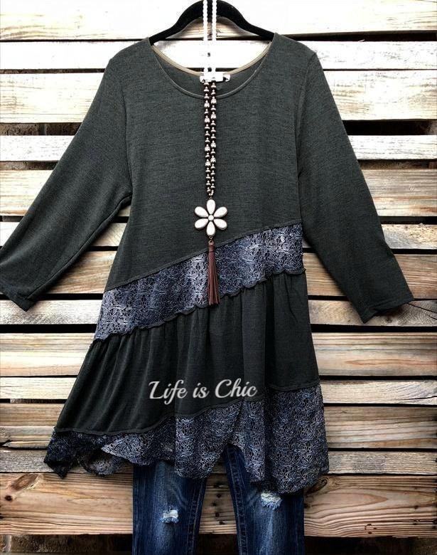 "EVERYDAY BEAUTY ""ONE OF A KIND"" DETAILED LACE TUNIC IN FOREST GREEN [product vendor] - Life is Chic Boutique"