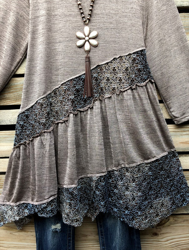 "EVERYDAY BEAUTY ""ONE OF A KIND"" DETAILED LACE TUNIC IN TAUPE [product vendor] - Life is Chic Boutique"