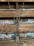 FAB LEOPARD CROSS TASSEL NECKLACE