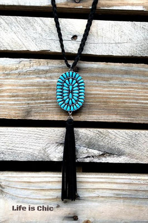 WESTERN INSPIRED BRAIDED BLACK ROPE NECKLACE IN TURQUOISE [product vendor] - Life is Chic Boutique