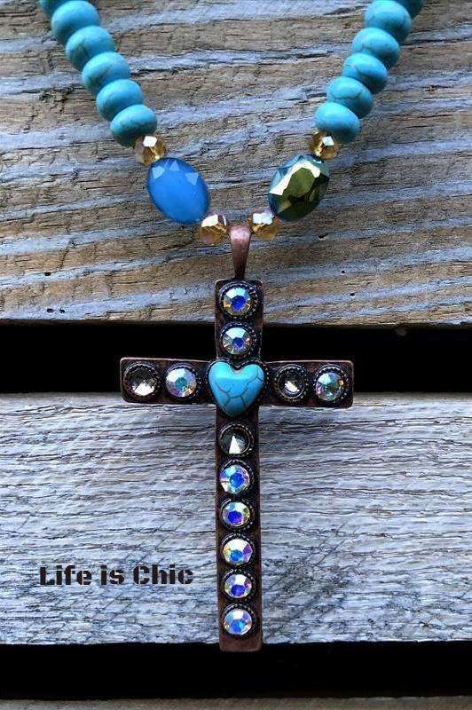 HEART CROSS NECKLACE CRYSTAL & TURQUOISE [product vendor] - Life is Chic Boutique