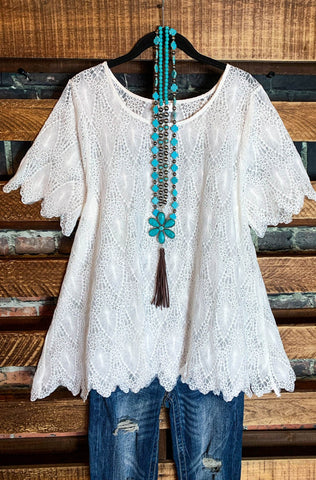 AIR OF ROMANCE LACE DUSTER KIMONO IN IVORY