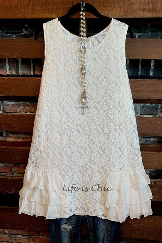 A FAIRYTALE DREAM PRETTY LACE LAYERING DRESS IN WHITE