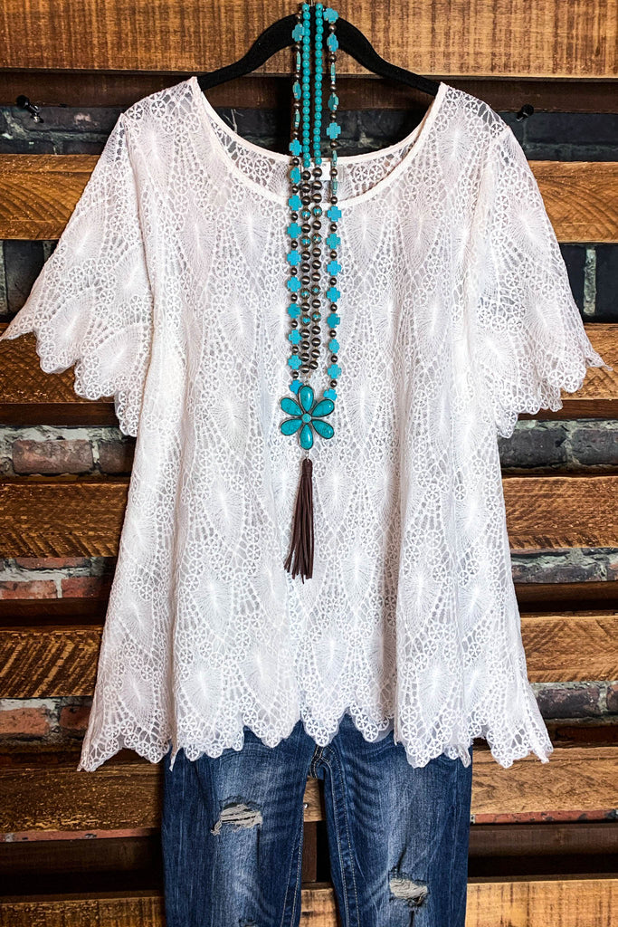 All Good Things White Lace Top