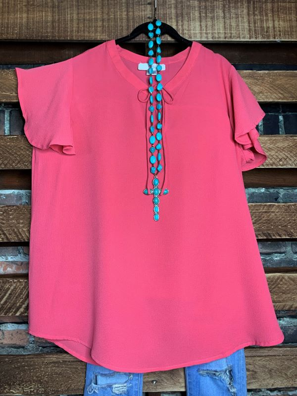 NEW BEGINNINGS BLOUSE IN CORAL