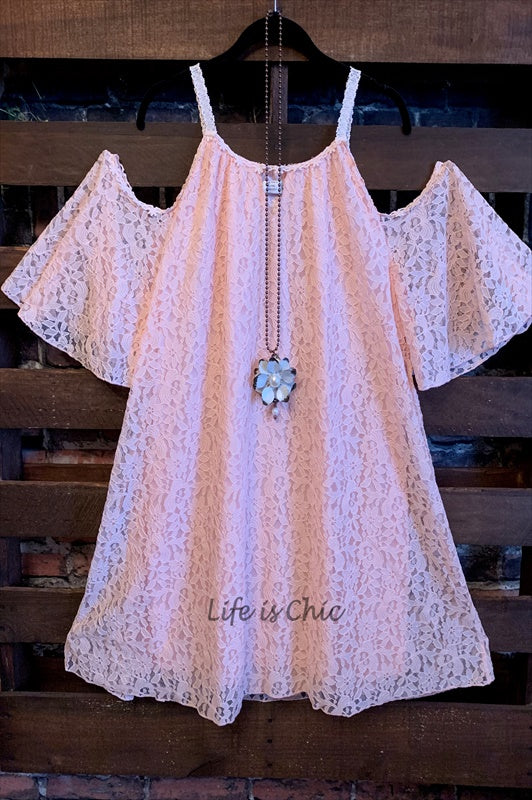 FAB CHARMING OFF SHOULDER FLORAL LACE TUNIC PEACH-------sale
