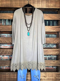 WHEREVER YOU GO LACE TEE-SHIRT TUNIC IN TAUPE
