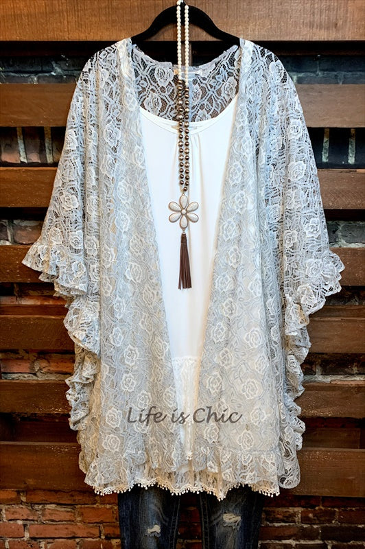 BEST DEFINITION OF LOVE ROSES LACE CARDIGAN/KIMONO IN DUSTY BLUE