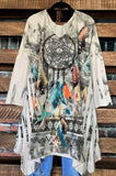 BOHO FREE SPIRIT DREAMCATCHER TUNIC IN BEIGE