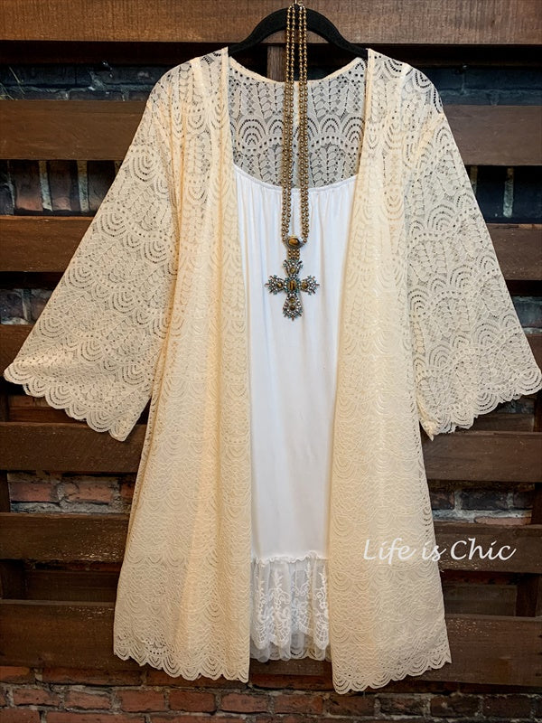 LACE CARDIGAN IN BEIGE PLUS SIZE---------sale