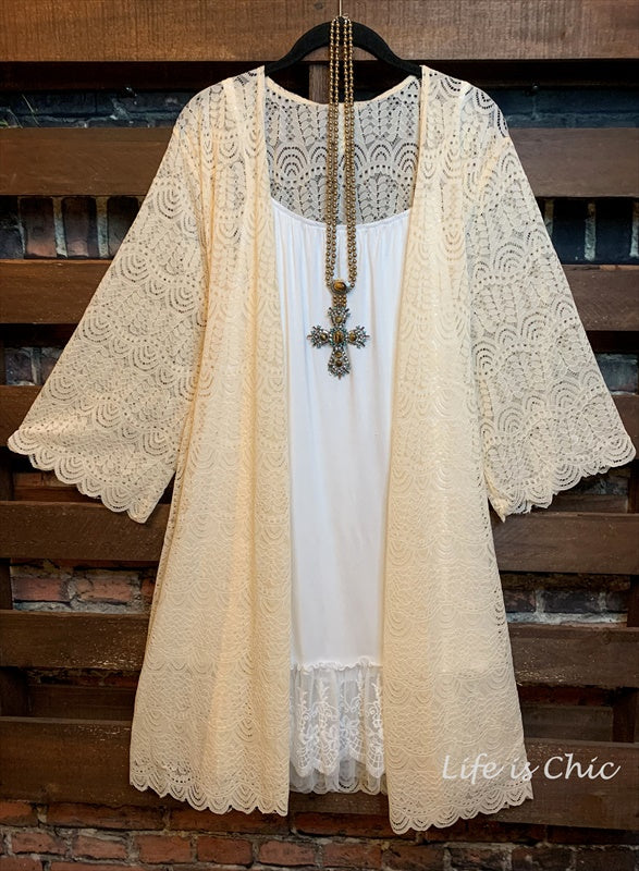 I'M ETERNALLY YOURS LACE CARDIGAN IN BEIGE----sale