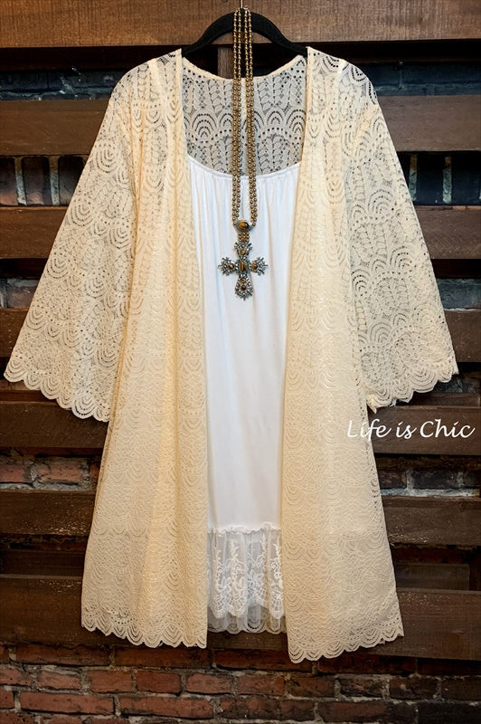 I'M ETERNALLY YOURS LACE CARDIGAN IN BEIGE