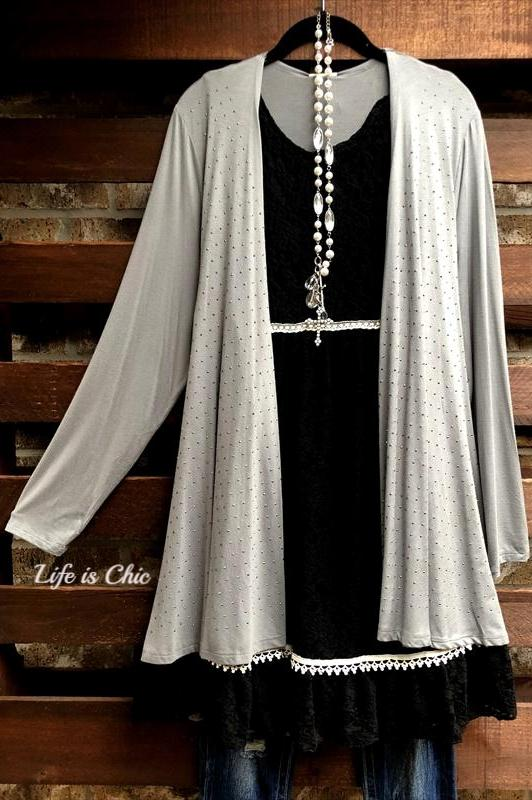LET'S GO OUT IN STYLE EMBELLISHED WITH STONES CARDIGAN IN GRAY [product vendor] - Life is Chic Boutique