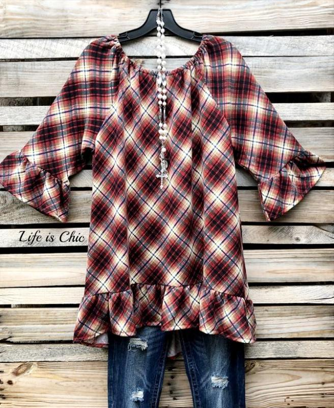 SO SO SOFT COZY SWEATER TUNIC IN BURGUNDY MIX [product vendor] - Life is Chic Boutique