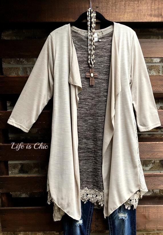 LA VIE EN ROSE LACE CARDIGAN LIGHTWEIGHT JACKET IN TAUPE [product vendor] - Life is Chic Boutique