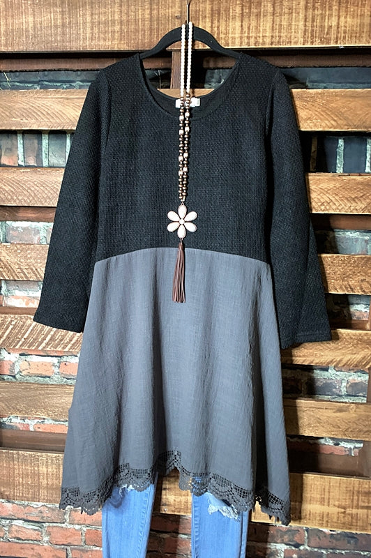 ALWAYS BE ADORABLE & FASHION DRESS IN BLACK & GRAY