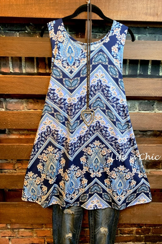 ALL FOR WONDER CHEVRON & FLOWER PRINT DRESS IN BLUE