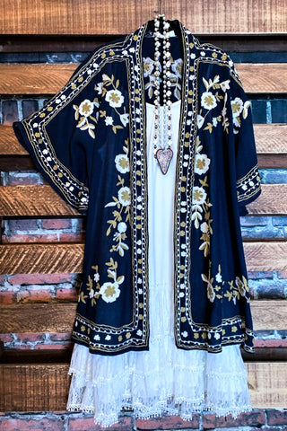 FOREVER FAIRYTALE LACE EMBROIDERED CARDIGAN IN NAVY BLUE