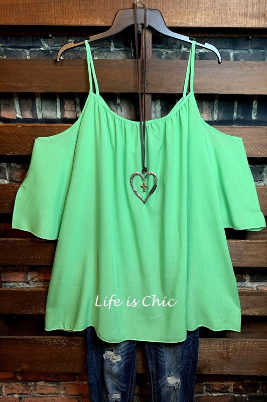 ALL THE BEST HOPE OFF SHOULDER OVERSIZED TUNIC IN GREEN --- sale