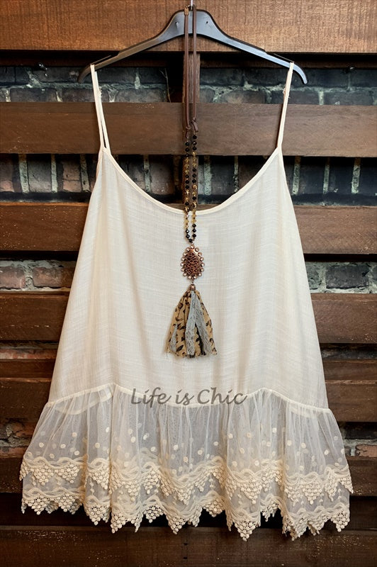 AN AFFAIR TO REMEMBER VINTAGE INSPIRED TOP SLIP IN BEIGE