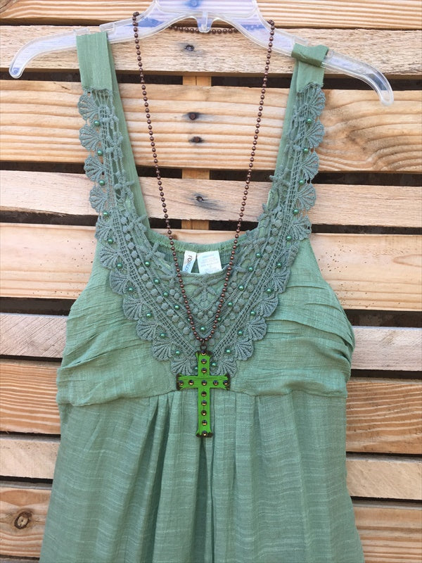 "SUMMER'S IN THE AIR EMBROIDERED DRESS IN SAGE size "" 1X"" - SALE [product vendor] - Life is Chic Boutique"
