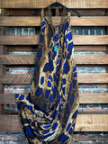 CHARMING AS CAN BE MAXI DRESS ANIMAL PRINT IN NAVY & MULTI 1X -4X