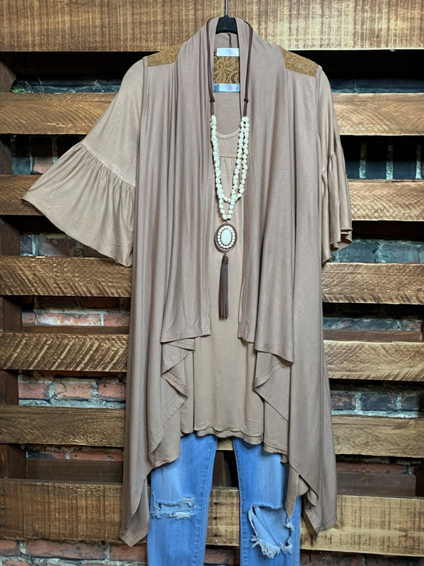 UNDER THE MOON BOHO LACE VEST IN LATE------------SALE