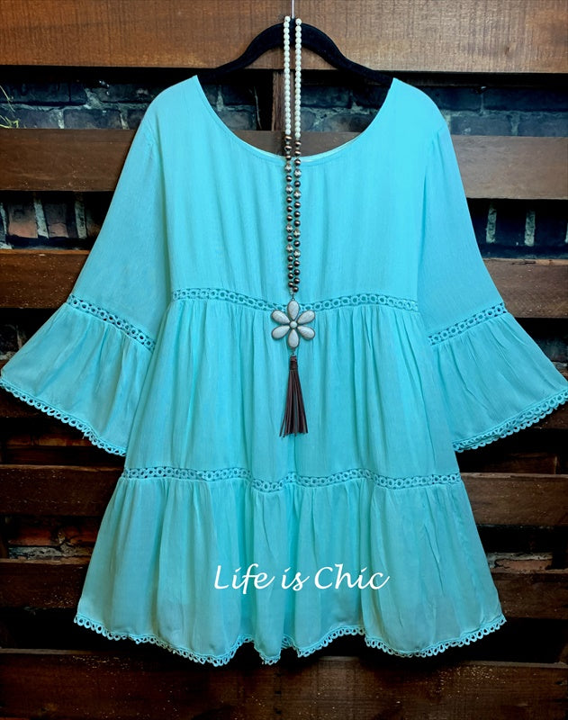 ALL THE PRETTY THINGS DRESS LACE TRIM IN MINT
