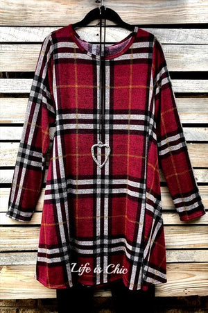 THE PERFECT PLAID DRESS IN BURGUNDY MULTI [product vendor] - Life is Chic Boutique