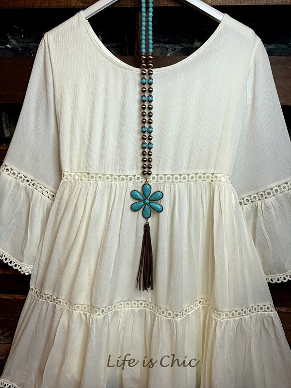 ALL THE PRETTY THINGS DRESS LACE TRIM IN BEIGE