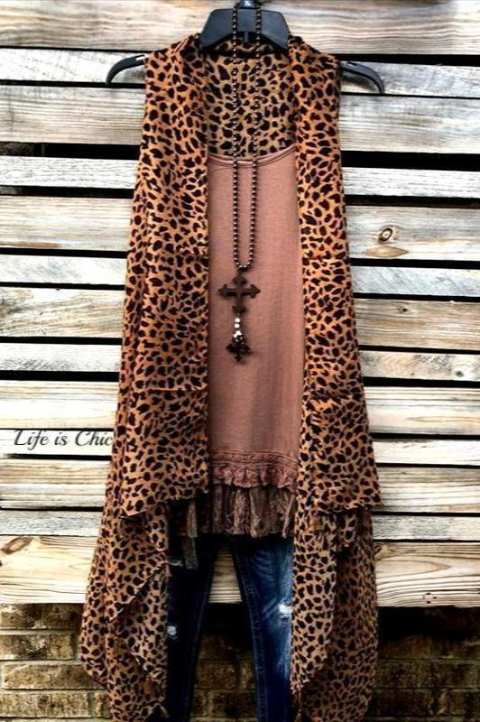 LEOPARD PRINT GAUZY LONG VEST IN BROWN [product vendor] - Life is Chic Boutique