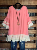 SUMMERTIME CUTIE LACE RUFFLED TUNIC IN PINK