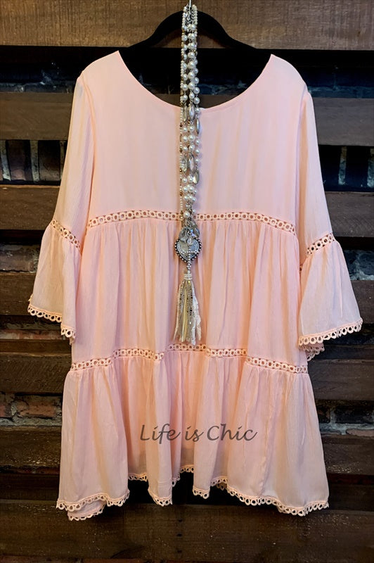 ALL THE PRETTY THINGS DRESS LACE TRIM IN PEACH
