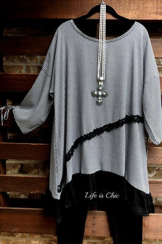 LOVELY & FASHION PEARL LACE TUNIC IN BROWN