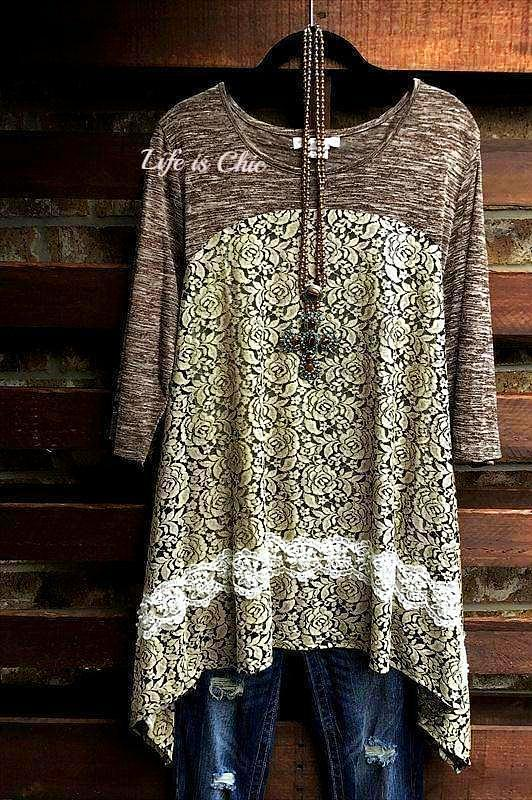 CIAO AMORE LOVELY LACE EMBELLISHED WITH PEARL TUNIC IN BROWN MIX