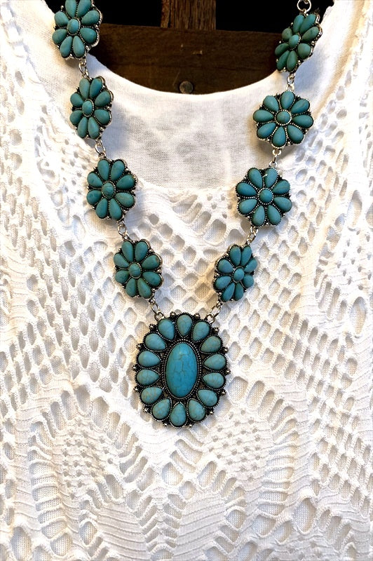SET NECKLACE FLORAL IN TURQUOISE