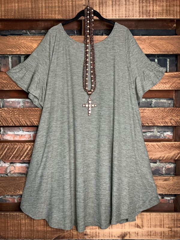 FOREVER JOYFUL DRESS IN OLIVE MIX 1X-3X
