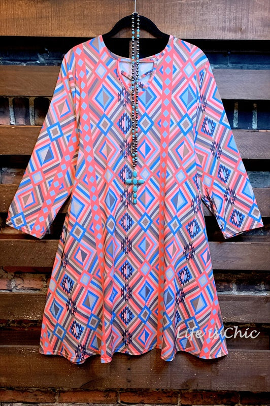 SUN DANCE WESTERN PRINT DRESS IN CORAL/TURQUOISE