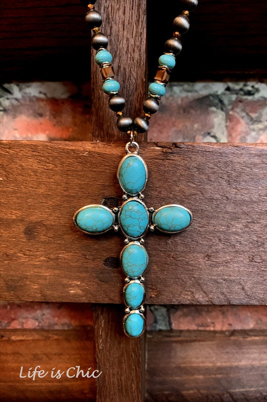 IT'S SO MYSTICAL VICTORIAN CROSS NECKLACE IN TURQUOISE