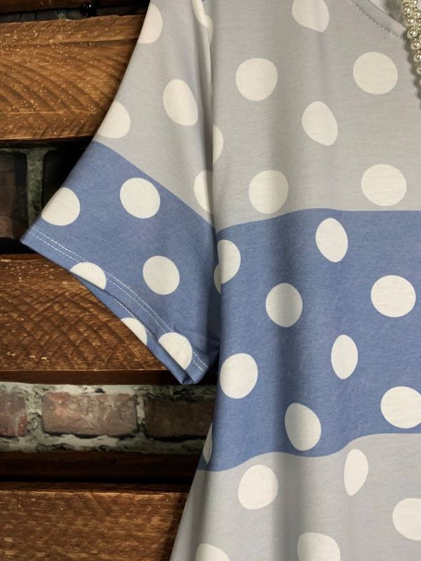 DARLING BE MINE POLKA DOT DRESS IN BLUE & GRAY