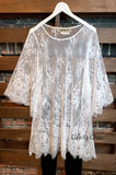 AMORE MIO CHARMING LACE SHEER DUSTER TUNIC - WHITE