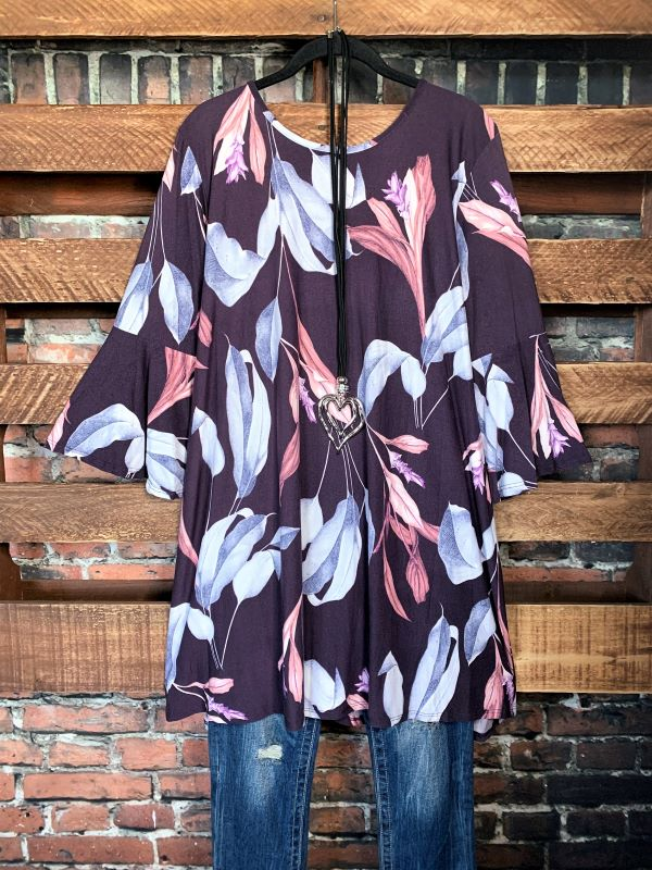 BEAUTIFULLY SWEET FLORAL PRINT TUNIC IN NAVY MIX