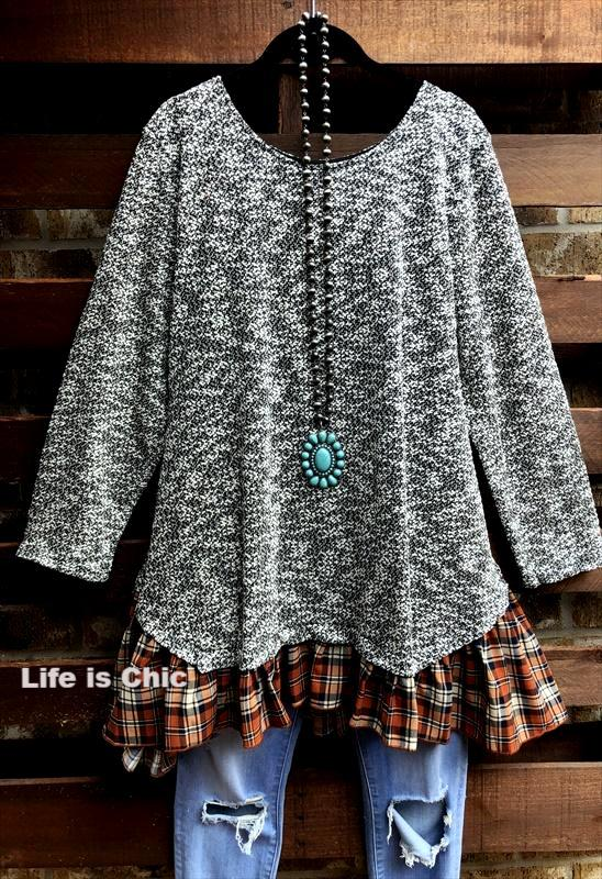 AS CUTE AS THEY COME SWEATER TOP PLAID RUFFLE IN BLACK MULTI [product vendor] - Life is Chic Boutique