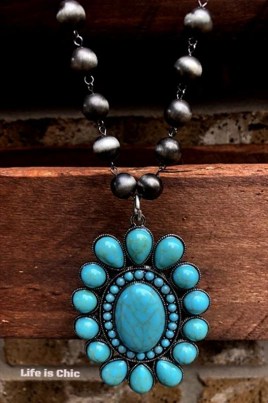 WESTERN SOUL JEWELRY TURQUOISE FLOWER SILVER