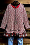 AS CUTE AS THEY COME SWEATER TOP PLAID RUFFLE IN BURGUNDY MULTI [product vendor] - Life is Chic Boutique