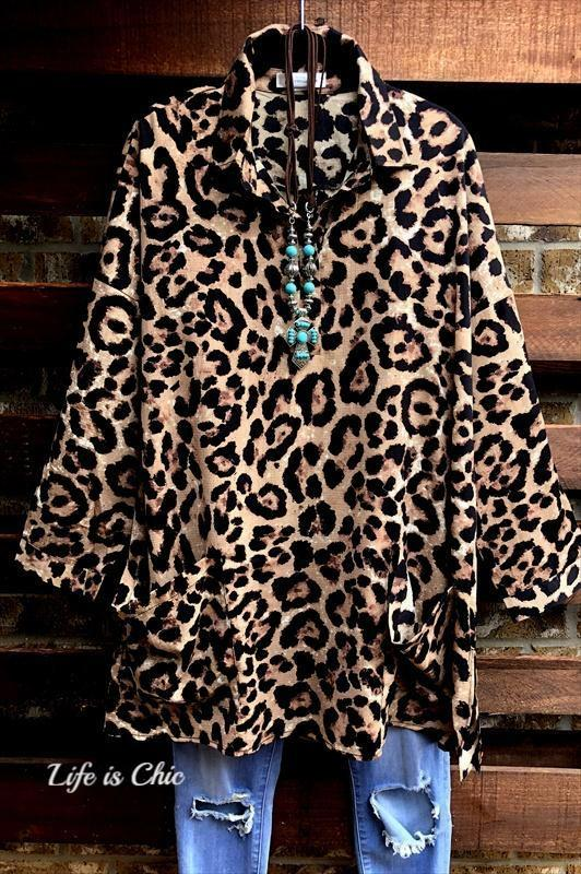 FAB LEOPARD PRINT TUNIC WITH PATCHED POCKETS