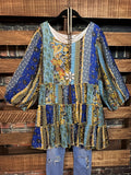 A FAIRYTALE DREAM BABYDOLL DRESS IN BLUE  & MULTI-COLOR